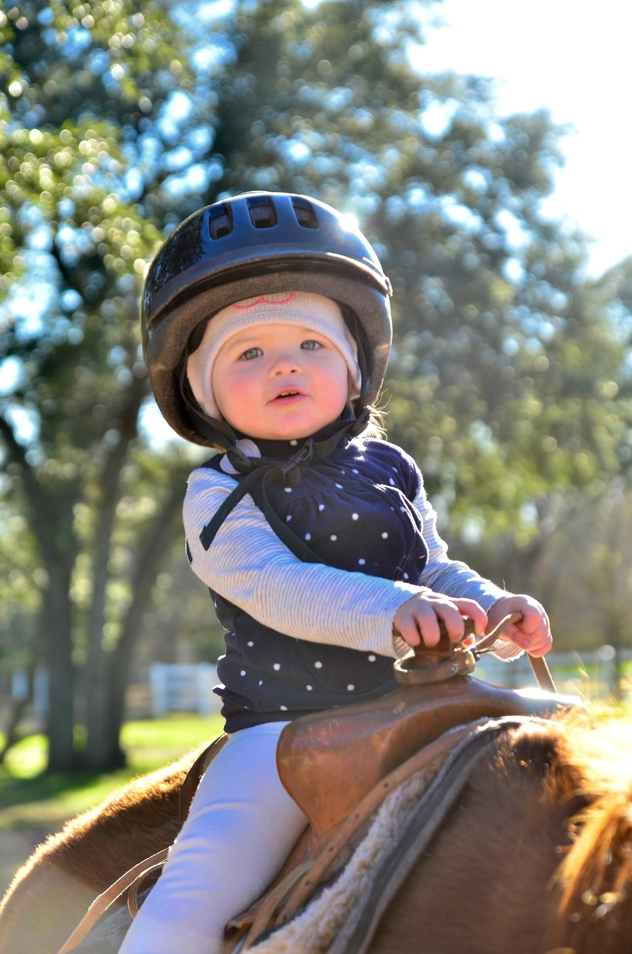 Pam's grandbaby and Pat's GREAT grandbaby Berlyn riding at Christmas just had to show off!!!