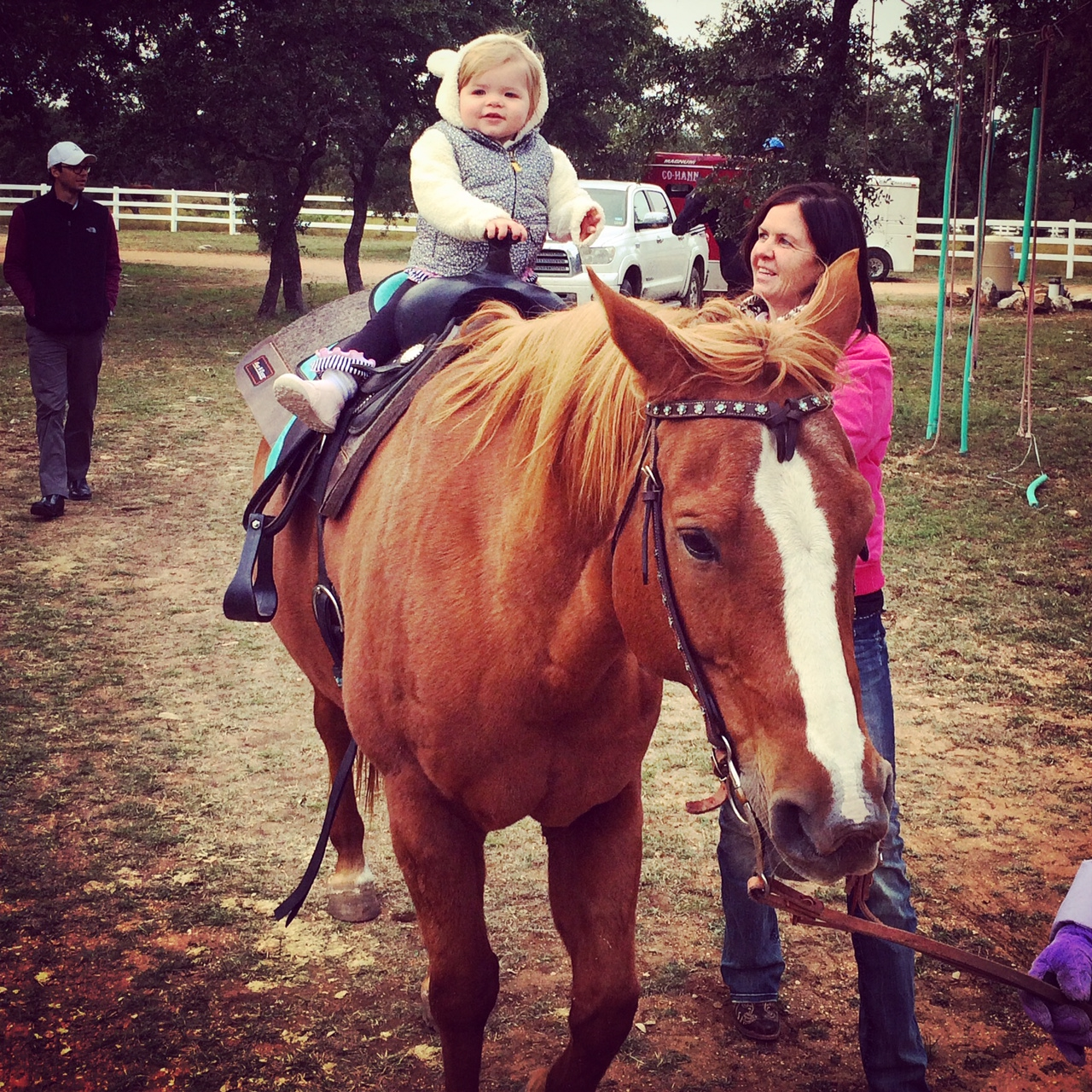 Now the real riding begins.  Pam's granddaughter, Berlynn Nov. 16, 2014